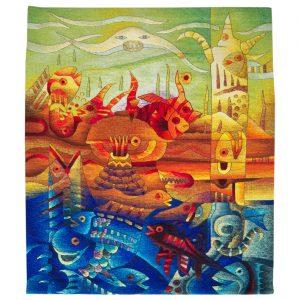 """Marine Totem and Manta Ray FishSize: 47 x 55"""""""
